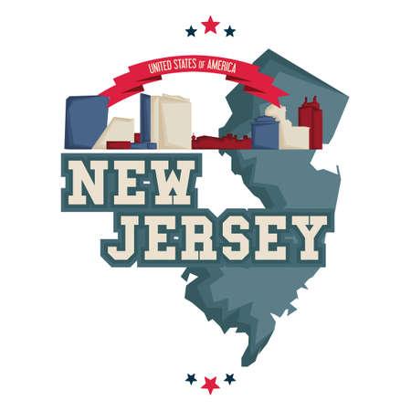 jersey city: New jersey map with atlantic city boardwalk