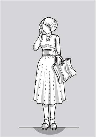 handbag: Woman with handbag Illustration