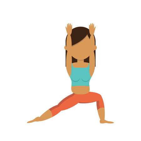 warrior pose: Girl practicing yoga in warrior pose