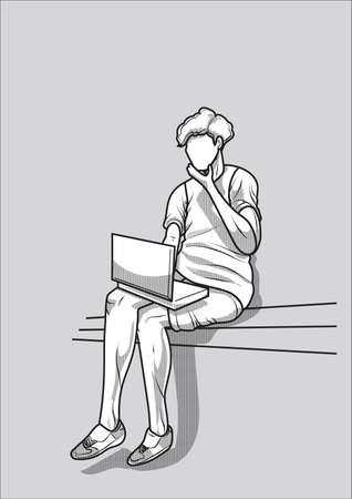 working woman: Woman working on laptop Illustration