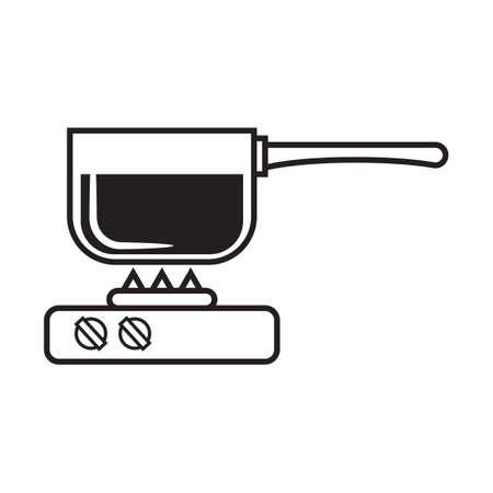saucepan: Saucepan on stove Illustration