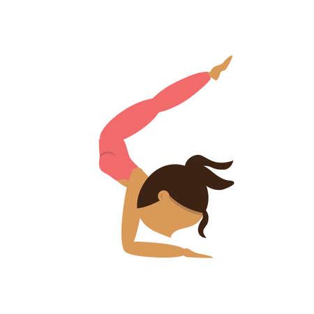locust: Girl practicing yoga in full locust pose Illustration