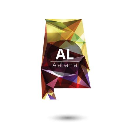 Alabama: Low poly map of alabama state Illustration