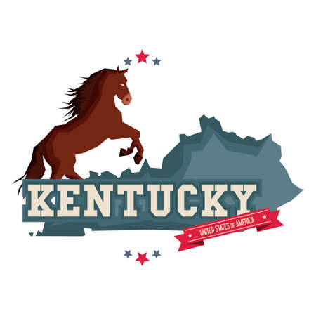 kentucky: Kentucky map with a horse