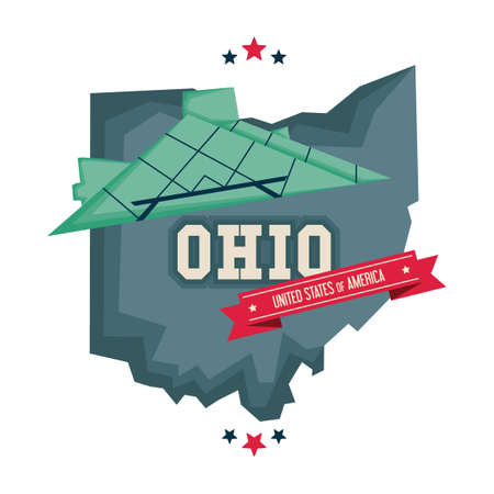 fame: Ohio map with rock and roll hall of fame