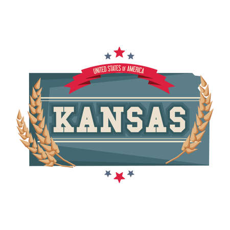 strands: Kansas map with wheat strands