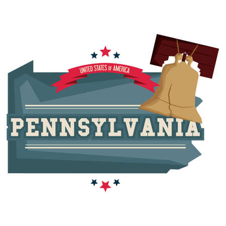 liberty bell: Pennsylvania map with liberty bell