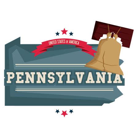 pennsylvania: Pennsylvania map with liberty bell