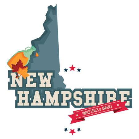 maple syrup: Mapa de Nueva Hampshire con jarabe de arce Vectores