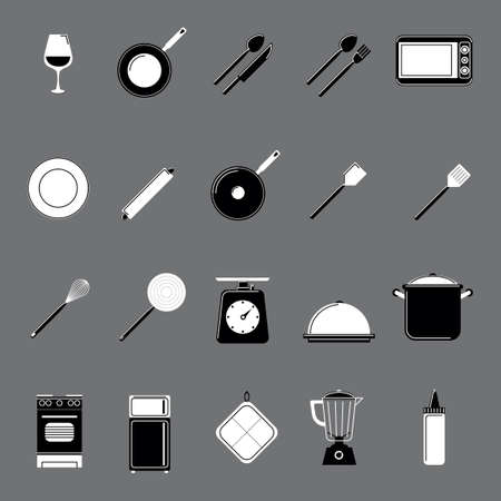 pot holder: Collection of kitchen and cooking tools Illustration