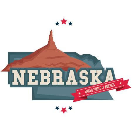 nebraska: Nebraska map with chimney rock Illustration