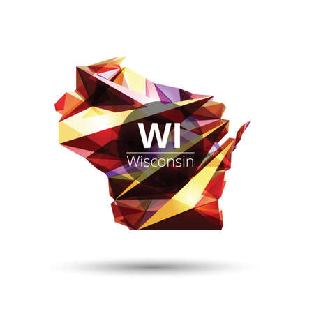 wisconsin state: Low poly map of wisconsin state Illustration