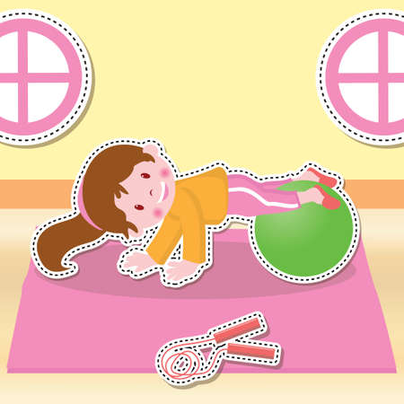 working out: Girl working out on fitness ball