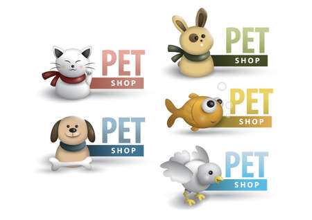 Collection of pet shop labels Illustration