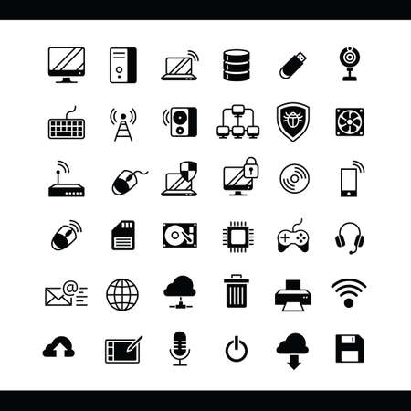 Collection of computer icons Stock Illustratie