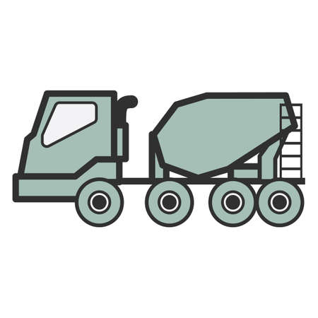 the mixing: Concrete mixing truck Illustration