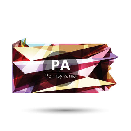 pennsylvania: Low poly map of pennsylvania state Illustration