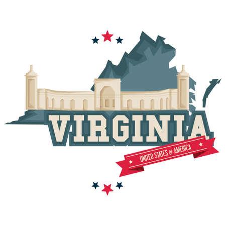 cemetary: Virginia map with arlington military cemetary