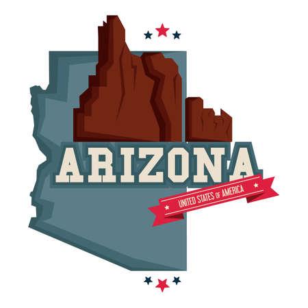 grand canyon: Arizona map with grand canyon