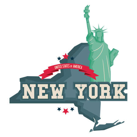 new york map: New york map with statue of liberty