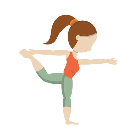 well being: Girl practicing yoga in dancer pose