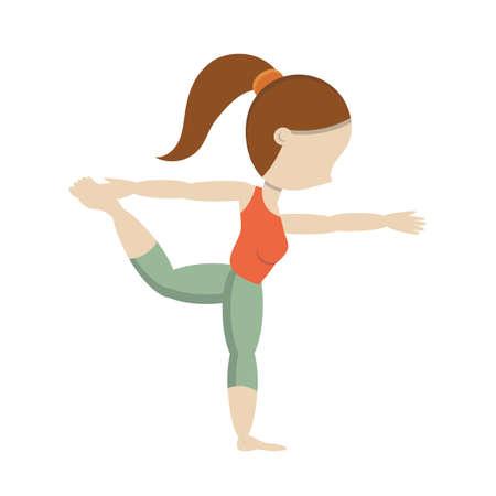 practicing: Girl practicing yoga in dancer pose