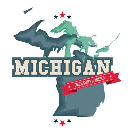 the great lakes: Michigan map with the great lakes Illustration