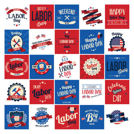 Labor day poster and labels set