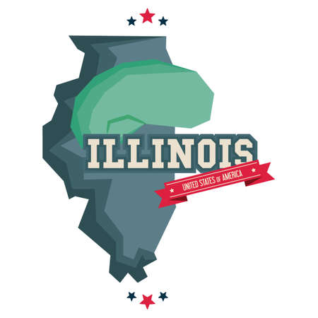 illinois: Illinois map with cloud gate