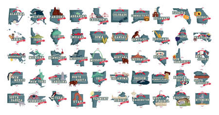 Collection of US state maps with famous  symbols
