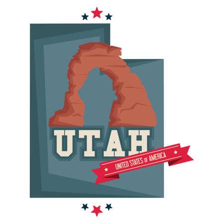 Utah map with rock formation utah