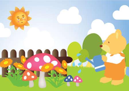 watering plants: Teddy bear watering plants Illustration