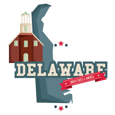 protestant: Delaware map with protestant church