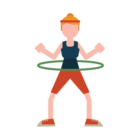 exercising: Woman exercising with hoop