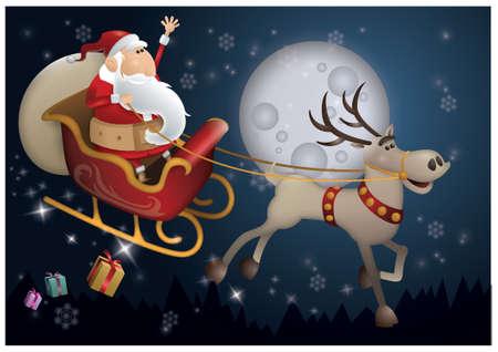 sleighs: Santa claus riding sleigh