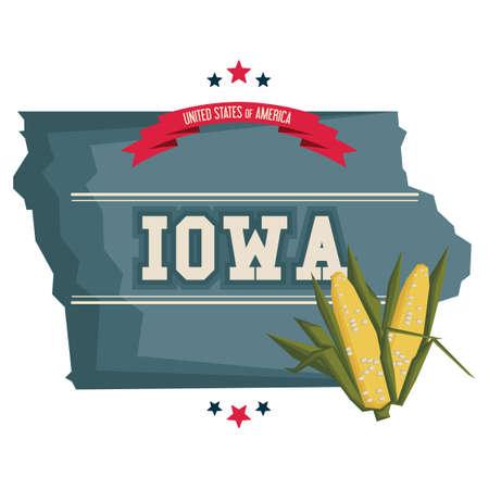 iowa: Iowa map with corn field Illustration