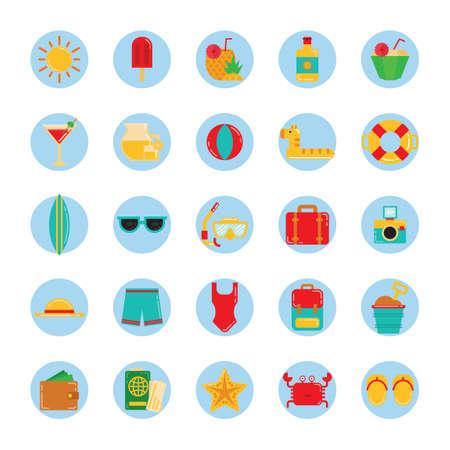 bucket of money: Set of summer icons