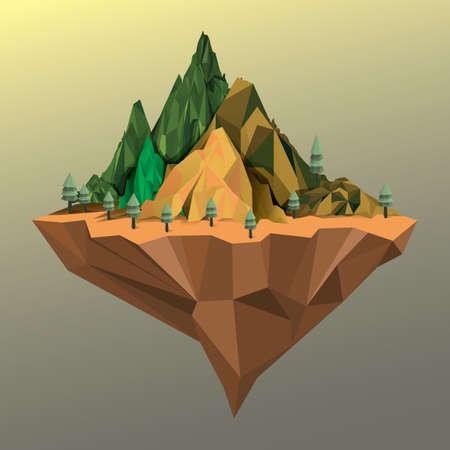 floating: Floating mountain island Illustration