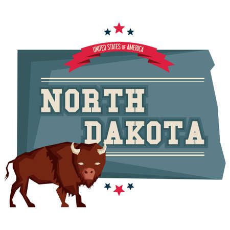 bison: North dakota map with a bison Illustration