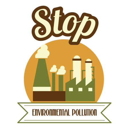 stop pollution: Stop environment pollution label