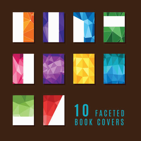 faceted: Collection of faceted book covers Illustration