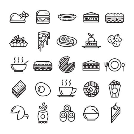 steak plate: Collection of food icons