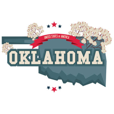 oklahoma: Oklahoma map with cotton field