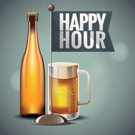 happy hours: Bouteille de bi�re et tasse Illustration
