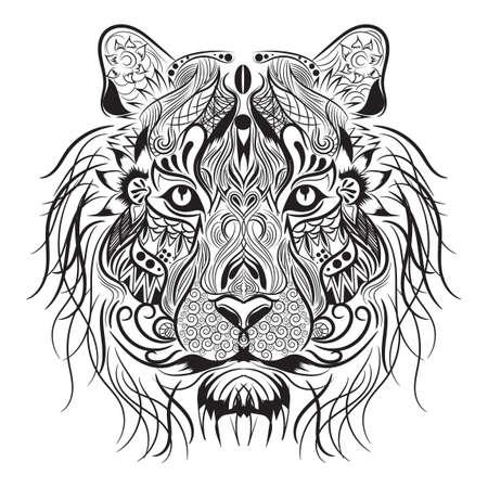 Diseño monocromático León Ilustración de vector
