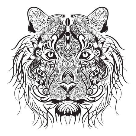 animal eyes: Lion monochrome design Illustration