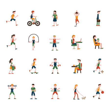 Collection of people and activities Illustration