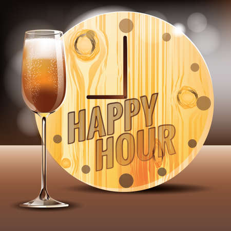 happy hours: Happy hours with wine glass Illustration