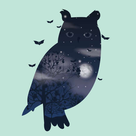 exposure: Double exposure owl Illustration