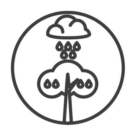 waterdrops: Rain fall on a tree Illustration